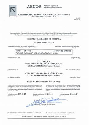 AENOR Zertifikat Gerüst DUO 45 (Englisch)