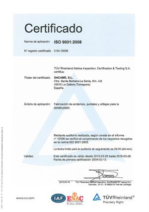 Certificado TÜV - ISO 9001