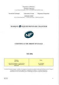 Certificado AFNOR de producto - DUO 45